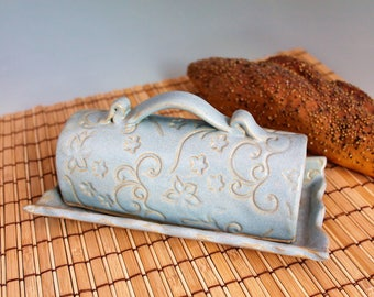 Butter Dish -blue pottery butter dish - ceramic butter dish - Wedding gift - CIJ