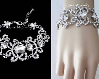 Crystal  bracelet, Brides bracelet, Crystal wedding bracelet, Bridal bracelet, Rhinestone statement bracelet ~ ANGELINA