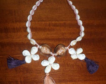 Cowrie SHELL/BEADS/TASSELS/Necklace/Tropical Jewelry