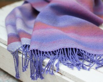 Handwoven scarf women pashmina scarf purple lilac red stripes hand woven scarf