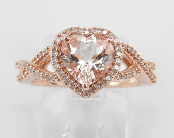 Heart Morganite and Diamond Halo Engagement Ring Rose Gold Size 6