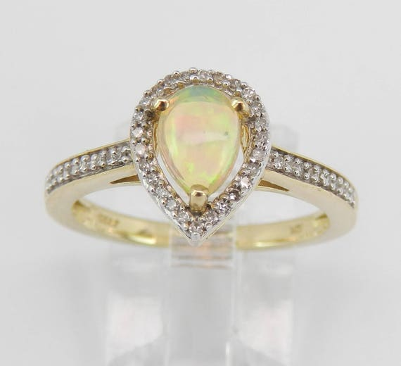 Diamond and Opal Halo Promise Engagement Ring Yellow Gold Size 7 October Gem