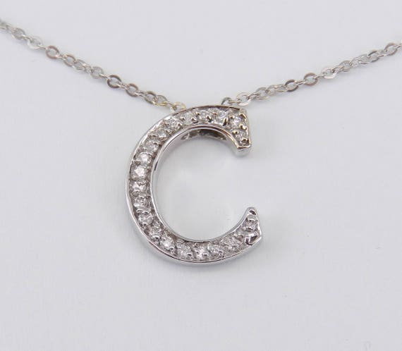 "Diamond Initial ""C"" Pendant Necklace 18K White Gold Chain 16"" Graduation Gift"