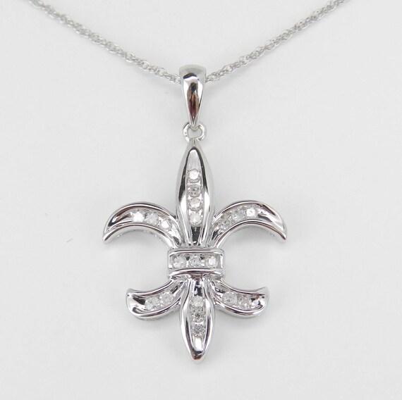 "Diamond Fleur De Lis Pendant Necklace White Gold Chain 18"" Wedding Gift"