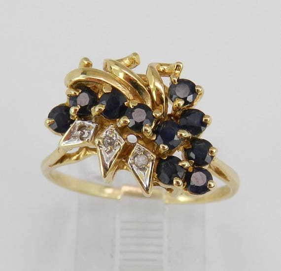 14K Yellow Gold Diamond and Sapphire Cocktail Cluster Ring Size 8.25