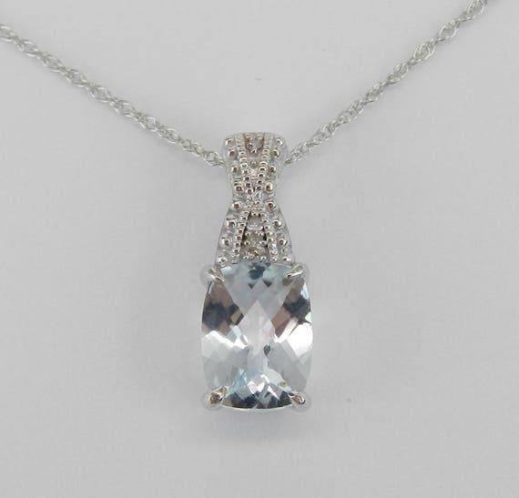 "Diamond and Cushion Cut Aquamarine Pendant Necklace White Gold 18"" Chain Aqua March Gemstone"