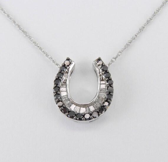 "Black Diamond HORSESHOE Pendant Good Luck Necklace White Gold 18"" Chain"
