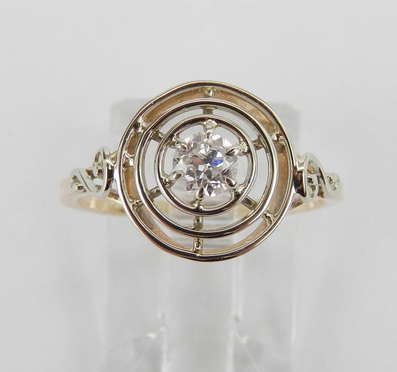 Antique Vintage Diamond Solitaire Engagement Ring 14KT White Yellow Gold Size 5.5