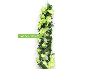 Artificial Lime Green Rose Flower Garland - 6 ft long - SALE!