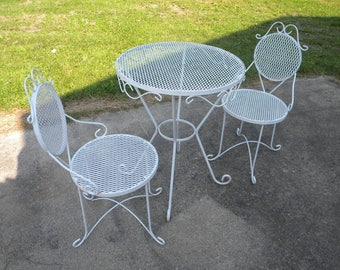 3 Piece Vintage 1970s Or So Wrought Iron And Mesh Outdoor SALTERINI WOODARD PATIO  Set Chair