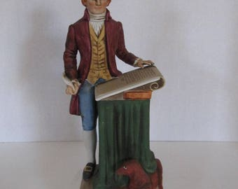 1970's Porcelain Hand Painted Thomas Jefferson Decanter from McCormick Distilling Co.