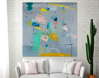 Large canvas art Grey painting with green and yellow colorful modern Wall Art ABSTRACT painting 36x36 by DUEALBERI