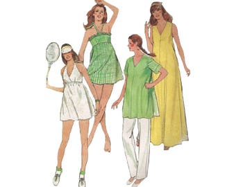 80s Maternity Boho Maxi Dress Mini Dress Tennis Dress Tunic and Pants Butterick 3757 Size 10 Bust 32.5 Vintage Sewing Pattern