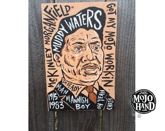 "11""x7.5"" blues music folk art painting of Muddy Waters by Grego from mojohand.com - thick wood - ready to hang"