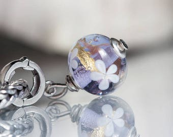 GlassBonBon  Dangle SRA Lampwork Bead fits all kinds of european charm bracelets BHB sterling silver