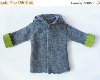 summersale SALE. Felted Boy Jacket - wool coat - wool baby coat - grey wool coat - toddler coat - wool jacket - spring coat