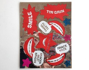 Vintage 80's HALLMARK Stickers Sheet ~ Metallic Foil BRACE FACE Braces Dentist Teeth Smile Teen