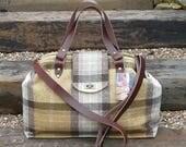 Mary Poppins Bag, Carpet Bag, Overnight Bag, Brown Tweed bag, Luggage, Plaid Bag, Travel Bag, Carry On Bag, Cabin Bag