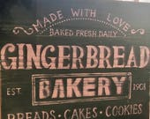 Gingerbread bakery holiday wood sign