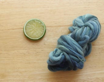 Wet Denim - Thick and Thin Wool Yarn Handspun Mini Skein Dusty Blue