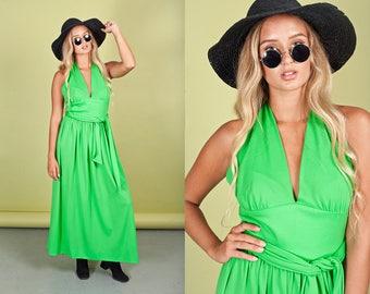 70s Apple Green Dress Vintage Bright Long Halter Maxi Dress