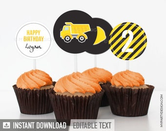 Construction Party Cupcake Toppers - Truck Party Circles - Boy Birthday Party - INSTANT DOWNLOAD - Printable PDF with Editable Text
