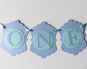 Blue First Birthday Banner - Boys 1st Birthday Party Decoration - ONE Banner - High Chair Banner