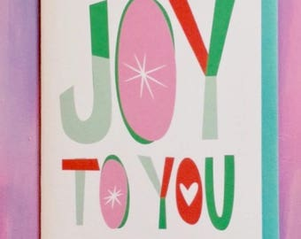Joy to You Christmas Holiday Card Lettering