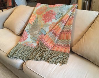 pleasurable designer sofa throws. Tropical Floral Throw Blanket  Turquoise Orange Florida Inspired Bedding Custom Throws Luxurious and Plush Upscale Blankets by AlexsAttic on Etsy