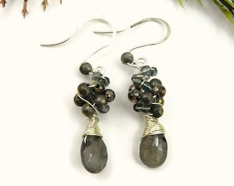 Mystical Labradorite and Silver Earrings/Wire Wrapped Earrings