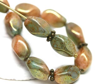11x7mm Brown Green oval beads, Olive Green beads, Mixed color czech glass barrel beads, Druk oval beads with luster - 20Pc - 0914