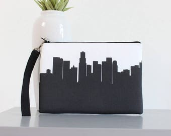 Los Angeles City Clutch Purse with Wristlet - Skyline Silhouette
