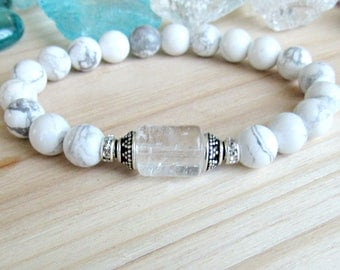 Healing Quartz bracelet with white Howlite, Intention bracelet, Reiki jewelry, beaded bracelet, yoga, stretch, white, rock crystal, quartz