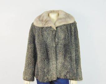 SALE Vintage Coat Mouton Fur Coat Mink Collar Lining Modern Medium to Large