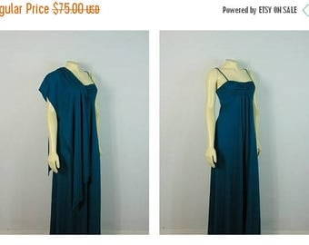 SALE Vintage Dress 70s Teal Maxi Dress & Shawl 70s Prom Dress / Dress Up or Down Casual or Dressy Modern Size XS - S Extra Small to Small