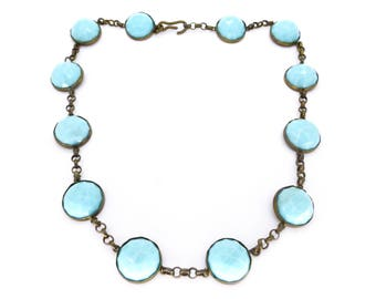Antique Edwardian Faceted Blue Glass Panel Necklace
