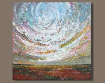 FREE SHIP large abstract painting, large abstract landscape painting, clouds, ranch land, western Canada, Alberta, large wall art