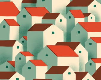 Endless Houses Illustration Print