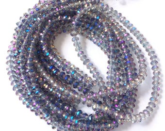 3 Strands of Galaxy Purple & Pale Purple Luster w/ AB Crystals