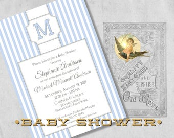 Stately Stripes Baby Boy Shower Invitations with Monogram Initial - Classic Blue and White Stripe Printed Baby Boy Shower Invitation
