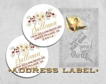 "White Christmas Return Address Labels - Gold, Cream, & Red Holiday Floral - 2"" Round Sticker, Envelope Seal - Personalized Printed Labels"