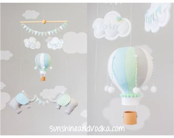 Hot Air Balloon and Elephant Baby Mobile, Adventure Theme Nursery Decor, Gray, Mint, Blue, White Baby Room Decoration, i245