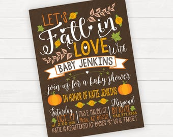 Fall Baby Shower invitation Shower Invitation Fall In Love Rustic Baby Shower Pumpkin Baby Shower Printable Invitation Pumpkin Baby