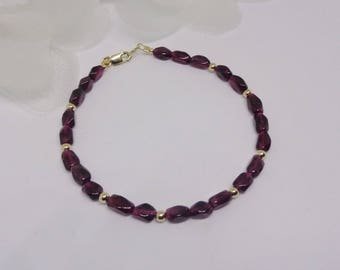 Red Garnet Bracelet 14kt Gold Garnet Bracelet 14kt Solid Gold Bracelet Adjustable Bracelet BuyAny3+Get1 Free