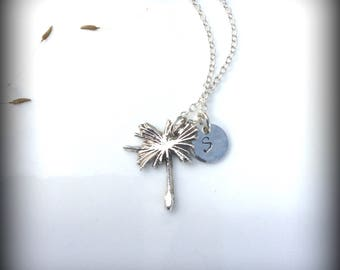 Dandelion Seed Monogram Necklace,Wish Charm Necklace,Intial Charm, ID Tag Charm,Personalized Gift,Bridesmaid Gift, DandelionImpressions,OOAK