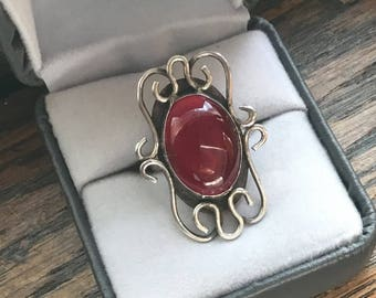 Artist Made Sterling Silver ring with large red stone