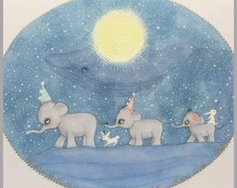 Original art elephants fantasy lowbrow art