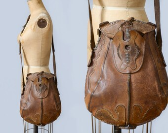 1960s Tooled Leather Custom Hippie Large Char Style Shoulder Bag Purse