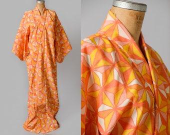 Vintage Kimono Geometric Print Orange Sherbet Cotton Traditional Robe Kimono Jacket