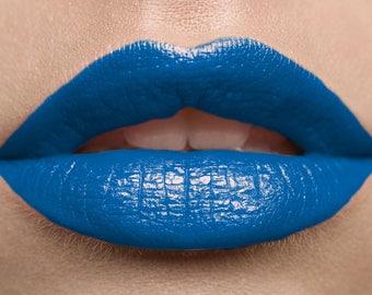 Lipstick Royal Blue Vegan Paraben Free Mineral Makeup Cream Lipstick Full Coverage Cosmetics Bold Long Wearing Handmade Lip Color ROYAL